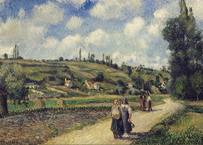 Landscape Near Pontoise Greeting Card featuring the painting Landscape Near Pontoise by Camille Pissarro