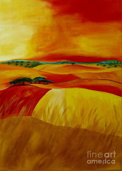 Landscape Greeting Card featuring the painting Landscape Of Alentejo by Nela Vicente