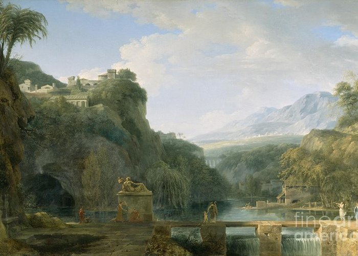 Landscape Greeting Card featuring the painting Landscape Of Ancient Greece by Pierre Henri de Valenciennes