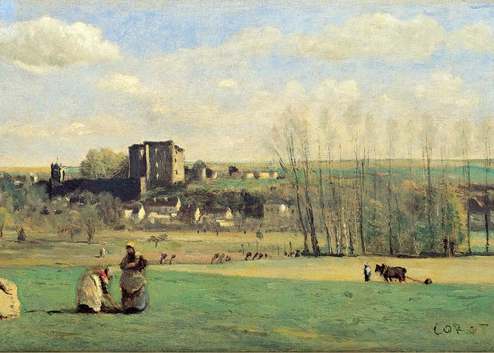 Jean-baptiste-camille Corot Greeting Card featuring the painting Landscape Of La Ferte-milon by Jean-Baptiste-Camille Corot
