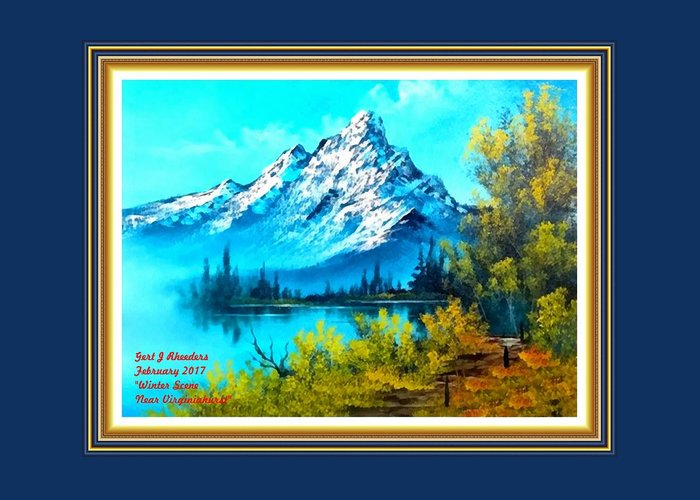 Park Greeting Card featuring the painting Landscape Scene Near Virginiahurst L A With Alt. Decorative Ornate Printed Frame. by Gert J Rheeders
