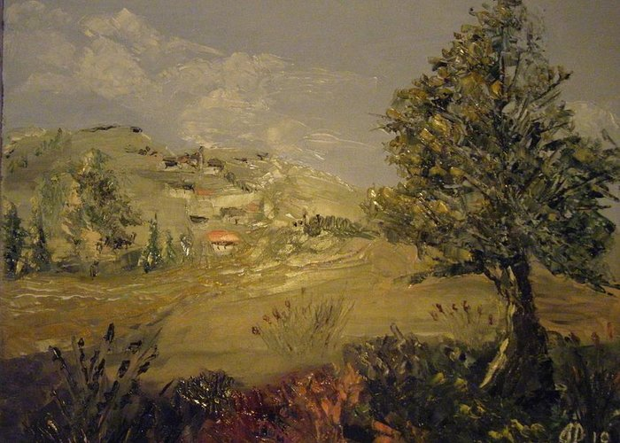 Lanscape Greeting Card featuring the painting Landscape Study With Pallette Knife by Joseph Papale