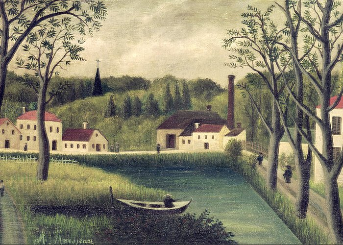 Landscape Greeting Card featuring the painting Landscape With A Fisherman by Henri Rousseau