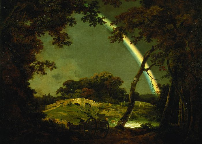 Landscape Greeting Card featuring the painting Landscape With A Rainbow by Joseph Wright of Derby