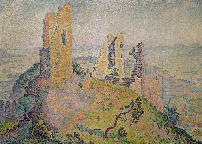 Landscape Greeting Card featuring the painting Landscape With A Ruined Castle by Paul Signac