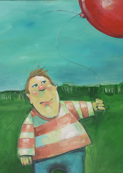 Landscape Greeting Card featuring the painting Landscape With Boy And Red Balloon by Tim Nyberg