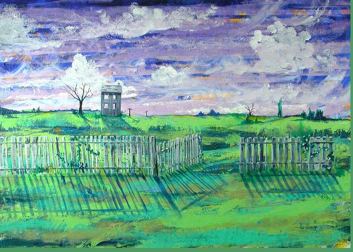 Landscape Greeting Card featuring the painting Landscape With Fence by Rollin Kocsis