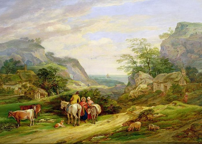 Landscape Greeting Card featuring the painting Landscape With Figures And Cattle by James Leakey