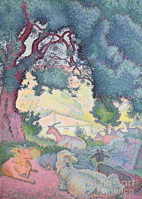 Landscape With Goats Greeting Card featuring the painting Landscape With Goats by Henri-Edmond Cross