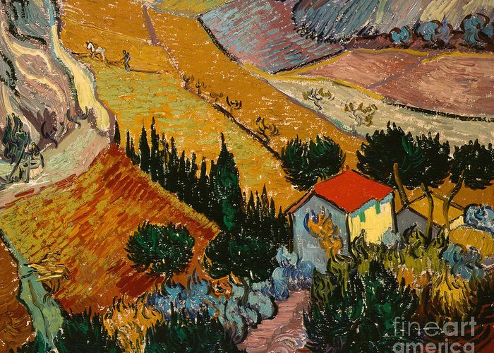 Landscape Greeting Card featuring the painting Landscape With House And Ploughman by Vincent Van Gogh