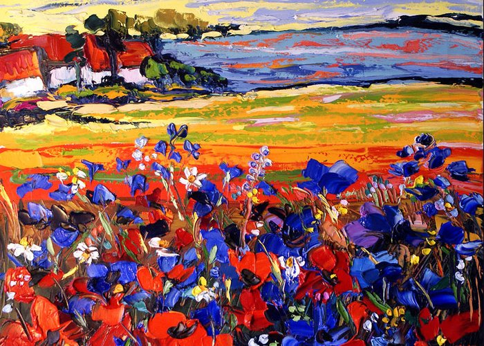 Artwork Greeting Card featuring the painting Landscape With Poppies by Maya Green