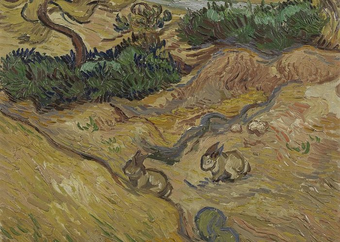 Art Greeting Card featuring the painting Landscape With Rabbits Saint Remy De Provence December 1889 Vincent Van Gogh 1853 1890 by Artistic Panda