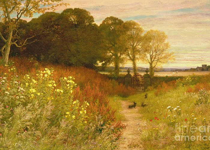 Landscape Greeting Card featuring the painting Landscape With Wild Flowers And Rabbits by Robert Collinson