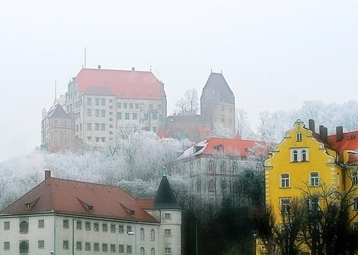 City Greeting Card featuring the photograph Landshut Bavaria On A Foggy Day by Christine Till