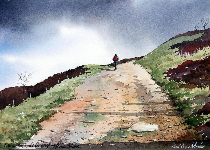 Landscape Greeting Card featuring the painting Lane To Quarry Pole Moor by Paul Dene Marlor