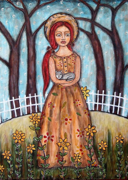 Folk Art Paintings Greeting Card featuring the painting Laney by Rain Ririn