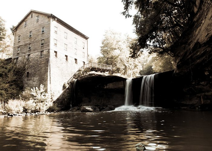 Lantermans Mill Youngstown Ohio Millcreek Park Waterfall River Sepia Greeting Card featuring the photograph Lantermans Mill by Jimmy Taaffe