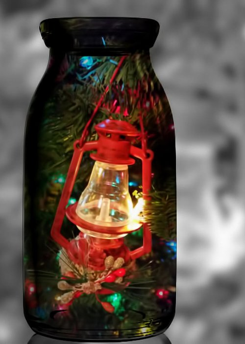 Pamela Walton Greeting Card featuring the mixed media Lantern In Glass Jar by Pamela Walton