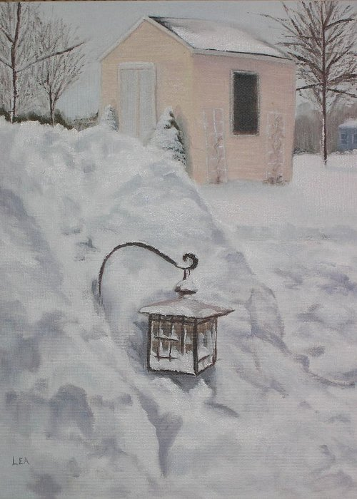 Snow Greeting Card featuring the painting Lantern In The Snow by Lea Novak