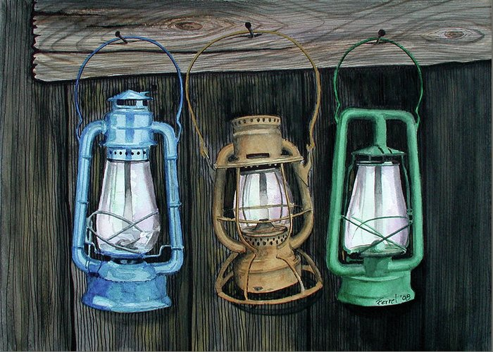Lanterns Greeting Card featuring the painting Lanterns by Ferrel Cordle