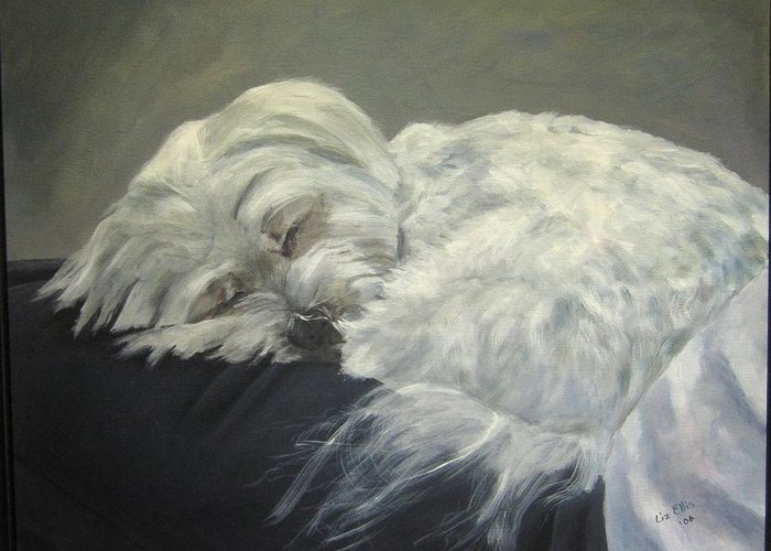 Maltese Dogs Greeting Card featuring the painting Lap Dog by Elizabeth Ellis