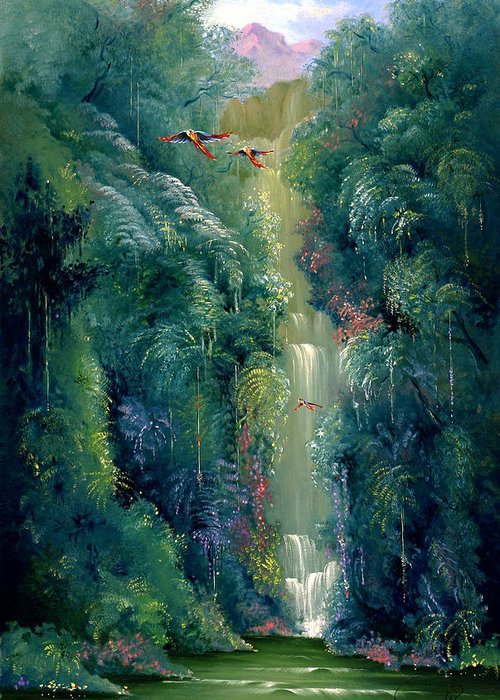 Landscape Greeting Card featuring the painting Lapa Rios by Hans Doller