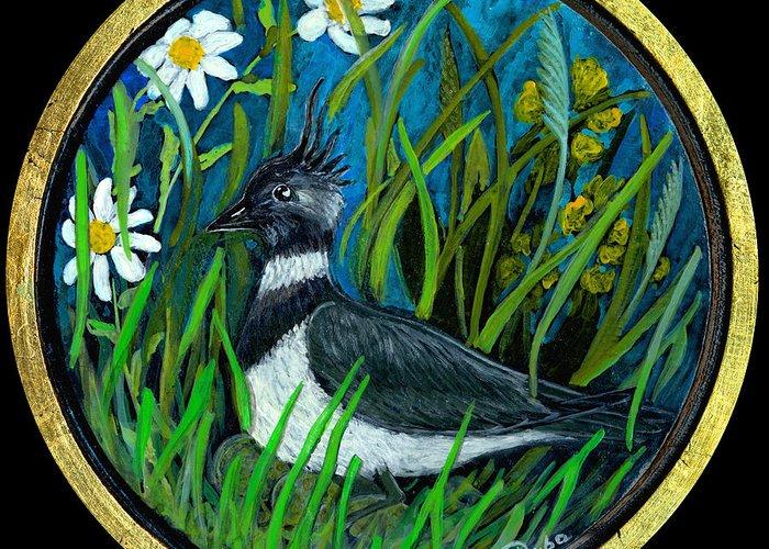 Folkartanna Greeting Card featuring the painting Lapwing by Anna Folkartanna Maciejewska-Dyba