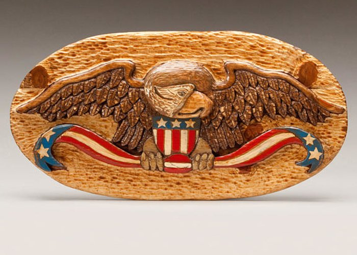 Eagle Greeting Card featuring the sculpture Large Eagle by James Neill