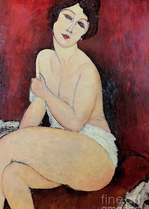 Large Greeting Card featuring the painting Large Seated Nude by Amedeo Modigliani