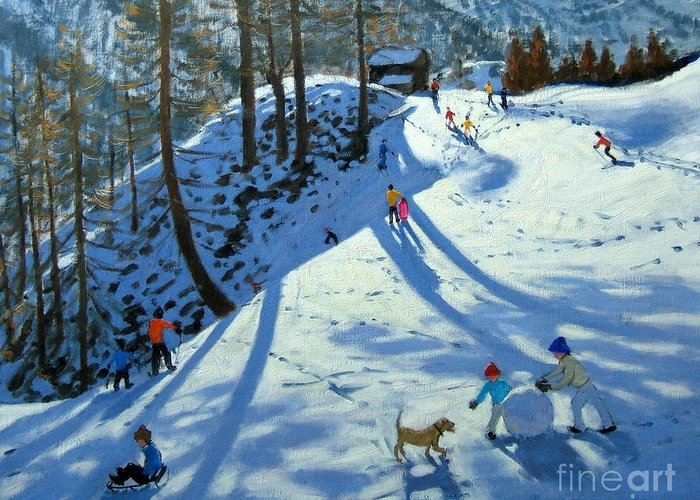 Sledge Greeting Card featuring the painting Large Snowball Zermatt by Andrew Macara