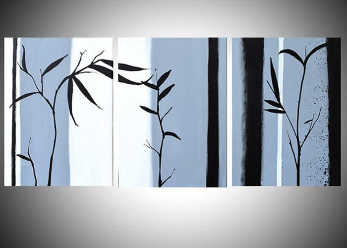 Black And White Greeting Card Featuring The Painting Large Wall Art Triptych Hanging Chinese Bamboo
