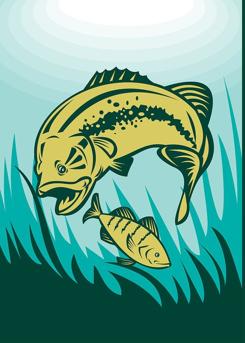Largemouth Greeting Card featuring the digital art Largemouth Bass Preying On Perch Fish by Aloysius Patrimonio