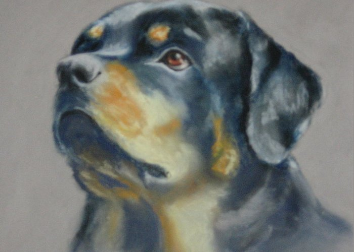Dog Greeting Card featuring the painting Lars by Carol Mueller