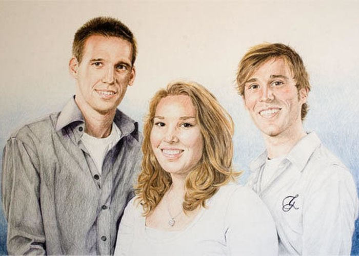 Portrait Greeting Card featuring the drawing Lars Niels And Ilse by Rob De Vries