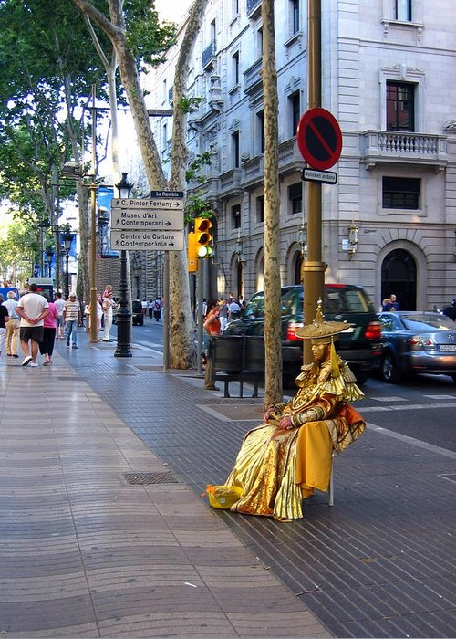 Spain Greeting Card featuring the photograph Las Ramblas I by Lindsey Orlando