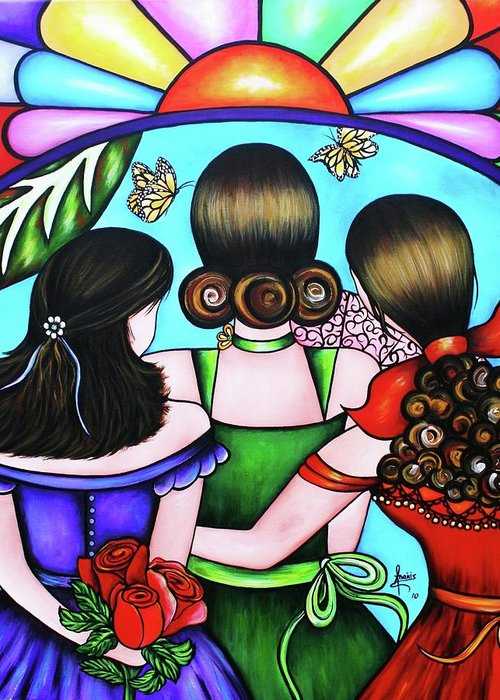 Woman Greeting Card featuring the painting Las Tres Rosas by Annie Maxwell