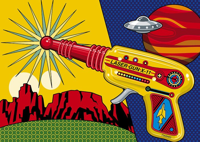 Toy Greeting Card featuring the digital art Laser Gun by Ron Magnes