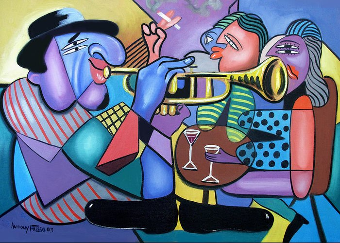 Last Call Music Art Two Woman Drinking Having Fun Man Playing Trumpet Guitar Bass Bango Cubist Cubism Cubestraction Bench Impressionist Expressionism Large Giclee Canvas Print Poster Original Oil Painting On Canvas Anthony Falbo Falboart  Greeting Card featuring the painting Last Call by Anthony Falbo