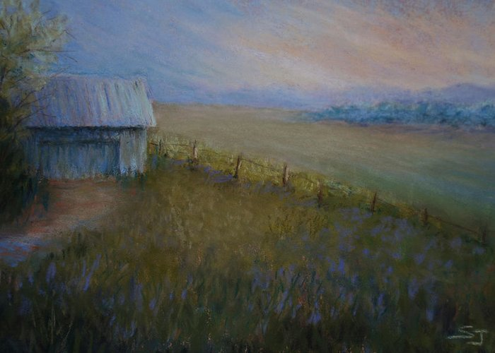 Landscape Greeting Card featuring the pastel Last Farm Light by Susan Jenkins