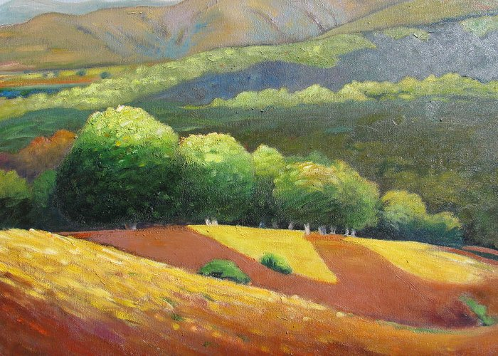 Ca Hills Greeting Card featuring the painting Last Kiss Of Sunshine by Gary Coleman