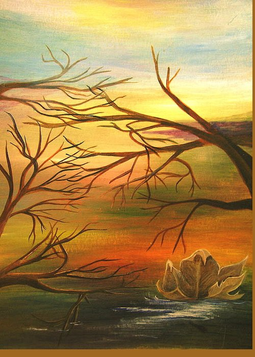 Landscape Greeting Card featuring the painting Last Leaf Of Fall by Vi Mosley