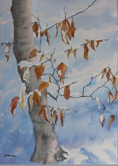Beech Leaves Greeting Card featuring the painting Last Leaves by Debbie Homewood