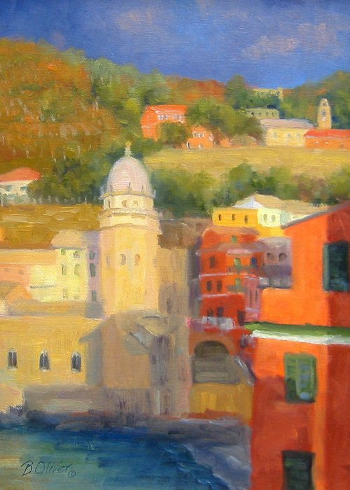 Vernazza Greeting Card featuring the painting Last Light - Vernazza by Bunny Oliver