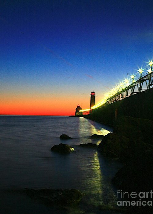 Water Greeting Card featuring the photograph Last Light Grand Haven Michigan by Robert Pearson