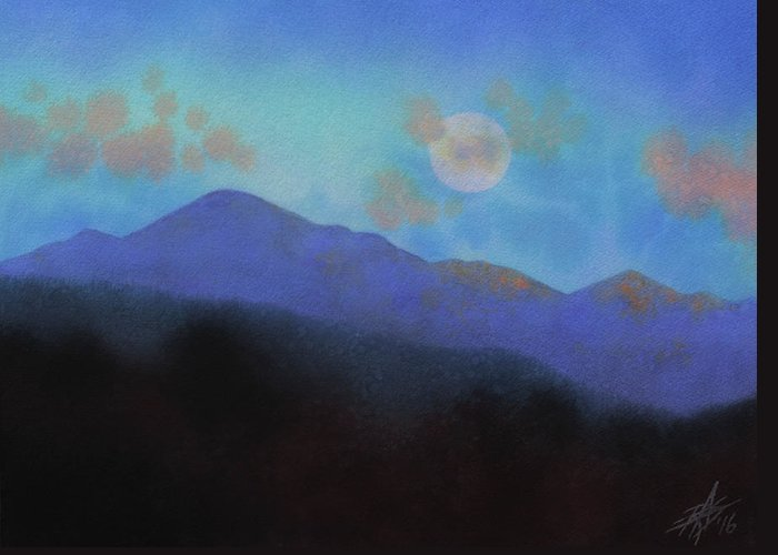 Landscape Greeting Card featuring the painting Last Light With Moonrise Over Iron Mountain by Robin Street-Morris