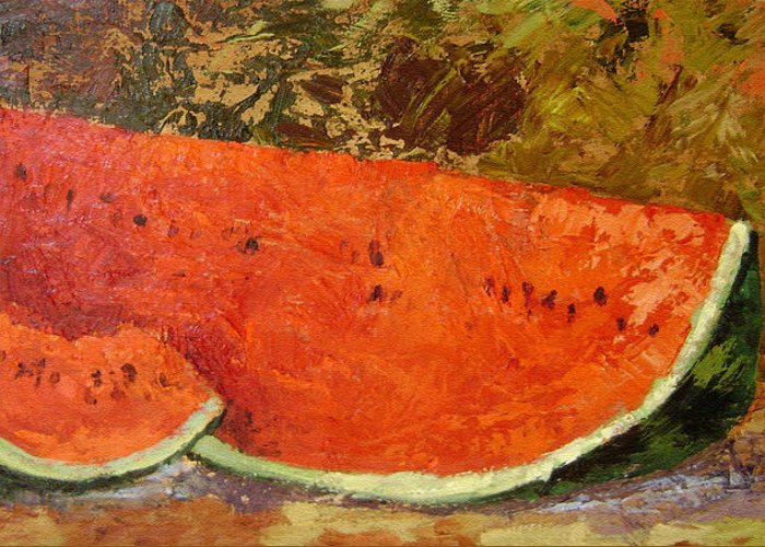 Watermelon Greeting Card featuring the painting Last Of Summer by Ginger Concepcion