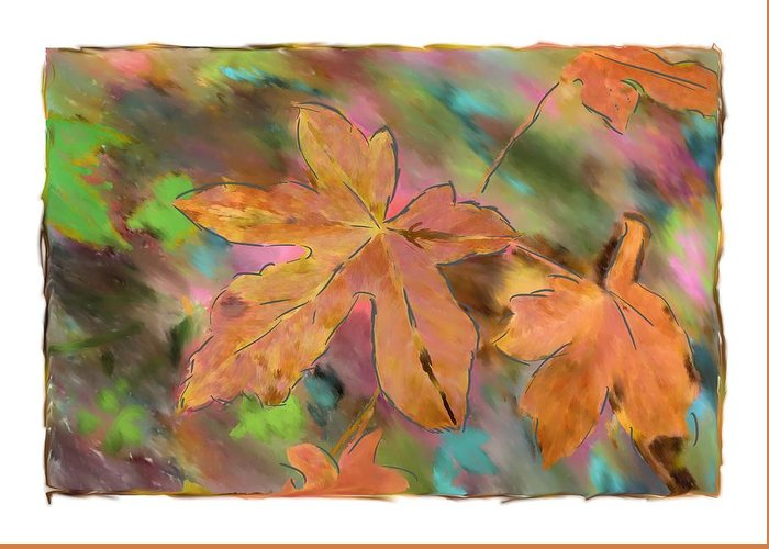 Abstract Digital Art Greeting Card featuring the photograph Last Of The Fall Leaves Abstract Digital Art by Sandy Belk