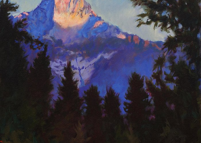 Glacier Greeting Card featuring the painting Last Rays by Robert Bissett