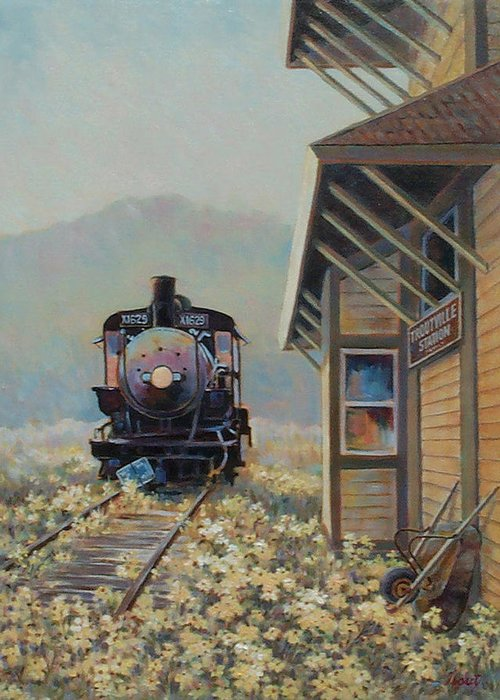 Locomotive Greeting Card featuring the painting Last Stop Troutville by Don Trout