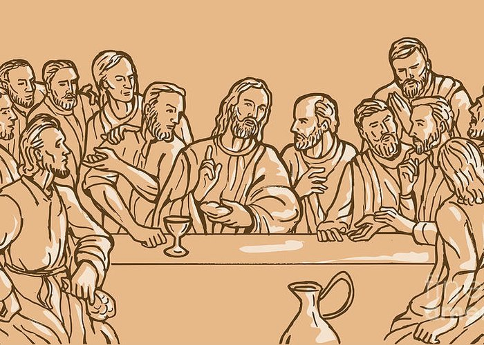 Last Supper Greeting Card featuring the digital art last supper of Jesus Christ by Aloysius Patrimonio